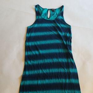 Lucky Brand Blue Striped Tank Maxi Dress L